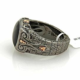 Webster LONDON CALLING Silver Black Rhodium Rose Gold Onyx Signet Ring