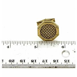 Estate 14k Yellow Gold Octagon Shape Textured Woven Stud Cufflinks