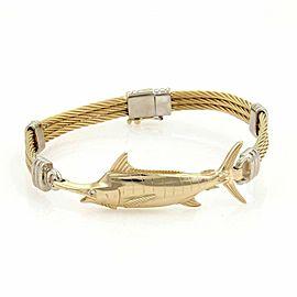 Vanmark Diamond 14k Yellow Gold Swordfish Triple Row Cable Band Bracelet