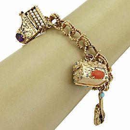 Vintage Multicolor Gemstone & Pearls 14k Yellow Gold 5 Large Charms Bracelet