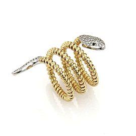 18k Two Tone Gold Diamond Wire Design Snake Triple Wrap Ring