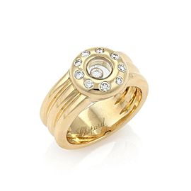 Chopard Happy Diamond 18k Yellow Gold Diamond Bezel Ribbed Band Ring Size 7