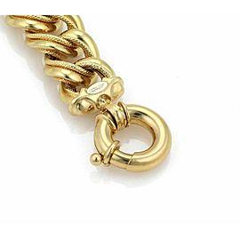 "Estate 18k Yellow Gold Triple Fancy Large Curb Link Bracelet 8"" Long"