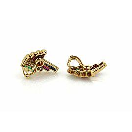 Estate 3.60ct Diamond Emerald Ruby & Sapphire 18k Gold Post Clip Earrings