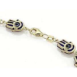 Good Luck Hamsa Hand Blue Enamel Multi Link Bracelet in 14k Yellow Gold