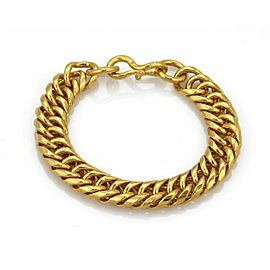 "Hefty 24k Gold 1/2"" Wide Cuban Link Chain Bracelet 111 grams 8"" long"
