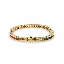 Rainbow 6.85ct Multicolor Gemstone 18k Yellow Gold Square Link Tennis Bracelet