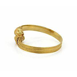 Lalaounis Double Lion Head 9mm Wide 18k Gold Flex Cuff Bracelet