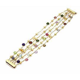 Marco Bicego Paradise 18k Yellow Gold Multi-Colored Gemstone 5 Strand Bracelet