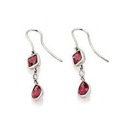 Tiffany & Co. Diamond Pink Tourmaline 18k White Gold Hook Dangle Earrings