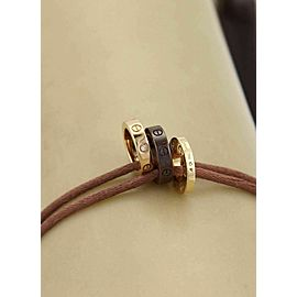 Cartier Love Diamond 18k Gold Ceramic 3 Mini Ring Charm Cord Bracelet