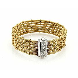 Marco Bicego Diamond 18k Two Tone Woven Design 17mm Wide Bracelet