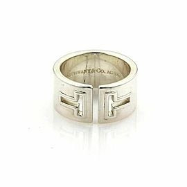 Tiffany & Co. T Cut Out Wide Sterling Silver Band Ring
