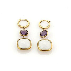 White Agate & Amethyst Drop Dangle Earrings in 18k Rose Gold