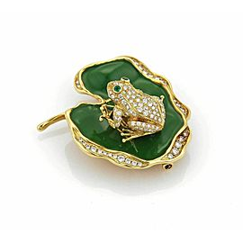 Waltham 1.14ct Diamond Emerald Enamel Spinning Frog on Lily Pad Pendant Pin