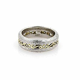 Tacori Platinum & 22k Yellow Gold Scroll Design 7mm Band Ring - Size 6.75