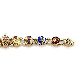 Estate Multi-Color Gemstone Enamel 14k Gold Assorted Shape Slide Bracelet