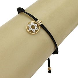 Star of David Charm Diamond 14k Two Tone Gold Adjustable Cord Bracelet
