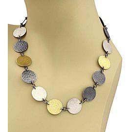 Gurhan Lush 24k Gold Dark & White Sterling Silver Disc Necklace Rt. $1,195