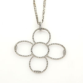 Roberto Coin Large Flower 1.24ct Diamonds 18k Gold Pendant Triple Chain Necklace