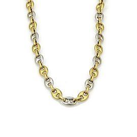 """Fa.Ca.Doro Italian Solid 18k Yellow & White Gold Oval Link Chain 20"""""""