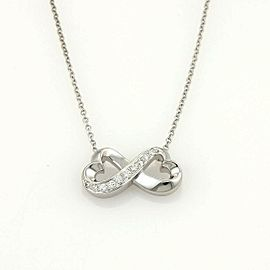 Tiffany & Co. Picasso Diamond Double Loving Heart 18k White Gold Necklace