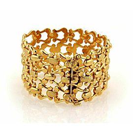 """Estate 37mm Wide Open Fancy Design 18k Yellow Gold Flex Bracelet 7.5"""" Long"""