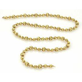 "Estate Swirl Design Long Beaded 14k Yellow Gold Necklace 29"""
