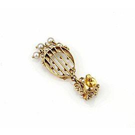Estate Pearls & Enamel Dangle 14k Yellow Gold Earrings