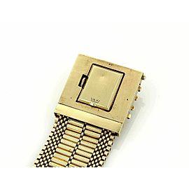 Vintage Hidden Watch 14k Yellow Gold & Enamel Wide Belt & Buckle Tassel Bracelet