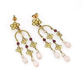 Estate 18k Yellow Gold Multi Color Gems Briolette Chandelier Earrings