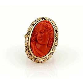 Estate Vintage 18k yellow Gold & Deep Carved Coral Cameo Woman Oval Ring Size 7