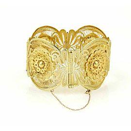 Estate 18k Yellow Gold Wide Curved Filigree Floral Bracelet