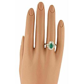 ESTATE 14K YELLOW GOLD OVAL SHAPED EMERALD AND DIAMOND COCKTAIL RING - SIZE 8.5