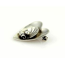 Georg Jensen Vintage 925 Sterling Silver Shell & Heart Earrings & Brooch Set