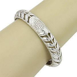 John Hardy Sterling Silver Kawung Floral Bangle with Diamonds - Size M