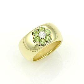 Hammerman Brothers Diamond Peridot 18k Yellow Gold Floral Wide Band Ring