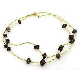 "David Yurman Smokey Quartz 18k Yellow Gold Cable Toggle Necklace - 44""Long"