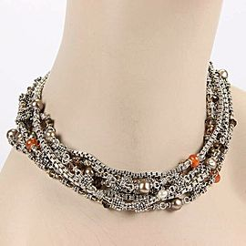 Michael Dawkins Multi Strand Pearls & Gemstones Sterling Silver Necklace