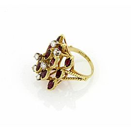 Estate 4.15ct Diamond & Garnet 18k Yellow Gold Fancy Cocktail Ring