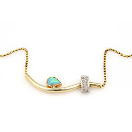 Estate Australian Opal and Diamonds 14k Three Tone Gold Necklace