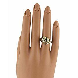 Estate Diamond 18k Yellow Gold & Enamel Cheetah Ring