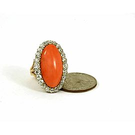 Antique 18k Two Tone Gold Red Coral & 2.00 OMC Diamond Ring -Size 5