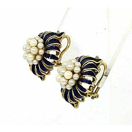 Estate 18k Solid Yellow Gold Blue Enamel & Pearls Cluster Dome Clip On Earrings