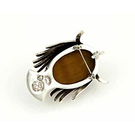 LOS BALLESTROS Tiger's Eye Sterling Lady Masked Face Link Pin Necklace