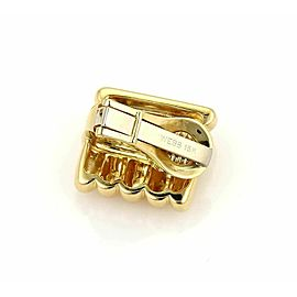 David Webb Rectangular Shape Ribbed 18k Yellow Gold Earrings