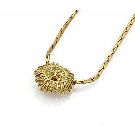 Estate 3.75ct Diamond & Ruby 18k Yellow Gold Fancy Pendant Necklace