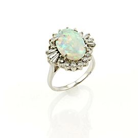 Estate 4.50ct Opal & Diamond Cocktail Ring in 18k White Gold