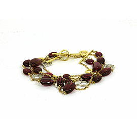 Ron Hami Diamond Pink Tourmaline 5 Strands 18k Gold Toggle Clasp Bracelet