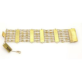 Multi Strand Arrow Bars Wide 18k Yellow Gold Bracelet